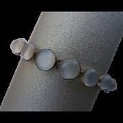 Vintage Sterling Silver Moonstone Open Back Bezel Set Bracelet