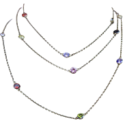 Gilded Sterling Silver Open Back Bezel Set Harlequin Crystal Necklace Chain