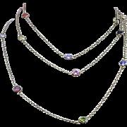 Gilded Sterling Silver Open Back Bezel Set Harlequin Crystal Necklace Chain