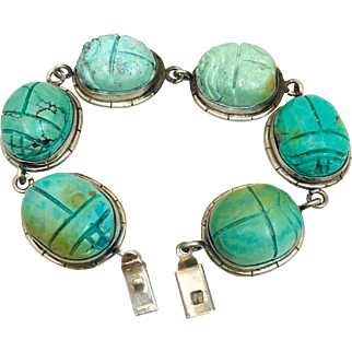 Art Deco Sterling Silver Natural Turquoise Scarab Bracelet