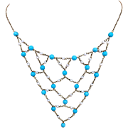 9k Gold Persian Turquoise and Natural Pearl Festoon Necklace