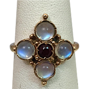 9k Gold Glowing Moonstone and Garnet European Ring