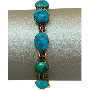 Antique Victorian 9k Gold Natural Turquoise Gemstone Bracelet