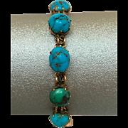 Antique Victorian 9k Gold Natural Turquoise Gemstone Bracelet