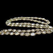 Antique Victorian 14k Gold Moonstone Open Back Bezel Set Necklace