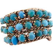 14k Gold Natural Turquoise Cluster Ring