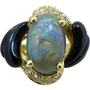 European 18k Gold Black Opal Diamond and Onyx Ring Hallmarked