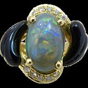 European 18k Gold Black Opal Diamond and Onyx Ring Hallmarked