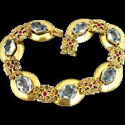 Antique 14K Gold Aquamarine Ruby and Diamond Edwardian Bracelet