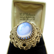 Huge Vintage 14K Gold Glowing Ceylon Moonstone Ring