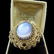 Huge Vintage 14K Gold Glowing Ceylon Moonstone Ring