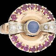 Retro 14k Gold Diamond Ruby and Star Sapphire Gemstone Ring