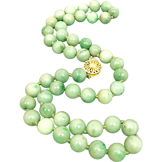 Chinese 14k Gold Jadeite Jade Beaded Necklace