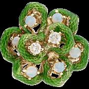 14k Gold Opal and Diamond Enamel Ring