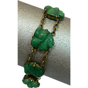 Antique Natural Chinese Turquoise Hand Carved Gemstone Bracelet