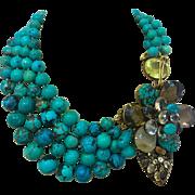 Stunning Genuine Chinese Turquoise Quartz, Citrine Multi Gemstone 4 Strand Necklace Brooch Pin