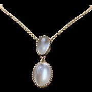 Antique Edwardian 9k Gold Moonstone Drop Lavaliere Necklace