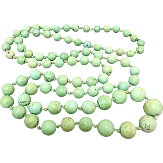 Chinese Old Natural Turquoise Gemstone Beaded Necklace