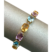 14K Gold Amethyst Diamond Citrine Topaz Multi Gemstone Bracelet