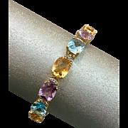 14K Gold Amethyst Diamond Citrine Topaz Multi Gemstone Bracelet