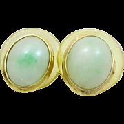 Jadeite Jade 14k Gold Stud Earrings