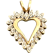 10 Gold and Diamond Heart Pendant for Necklace or Large Charm