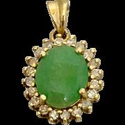 14k Gold Diamond Jadeite Jade Charm Pendant for Bracelet Necklace