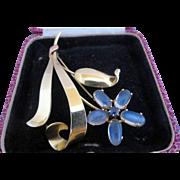14k Gold Retro Tiffany & Co. Moonstone and Sapphire Gemstone Brooch Pin