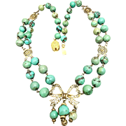 Art Deco Old Chinese Turquoise Filigree Gilded Silver Necklace