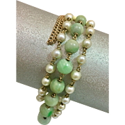 Antique 14k Natural Pearl Jadeite Jade Triple Strand Bracelet