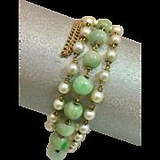 Antique 14k Natural Pearl Jadeite Jade Triple Strand Bracelet