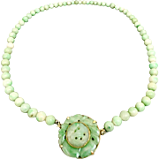 Art Deco Walter Lampl 14k Carved Jadeite Jade Beaded Necklace