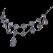 Antique Victorian Moonstone Silver Festoon Drop Necklace