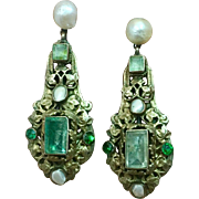 Antique Beryl Gemstone 14k Gold 800 Silver Blister Pearl Hungarian Austro Earrings