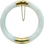 14k Gold Chinese Carved Jadeite Jade Hinged Bangle Bracelet 43 Grams