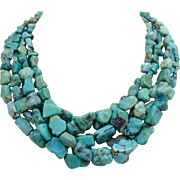 Multi Strand Natural Turquoise Nugget Choker Necklace Heavy
