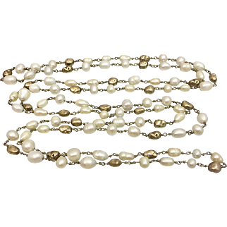 Art Deco Natural Baroque Pearl Gilded Sterling Silver Nugget Necklace