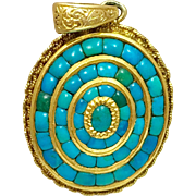 Antique Victorian 14k Gold Persian Turquoise Mourning Pendant for Necklace