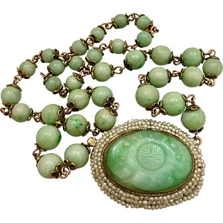 Antique 14k Gold Chinese Carved Jadeite Jade Seed Pearl Beaded Necklace Qing Dynasty