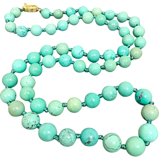 Gilded Sterling Silver Chinese Old Natural Turquoise Beaded Necklace
