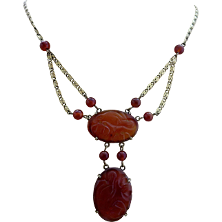 Art Deco Sterling Silver Natural Chinese Carved Carnelian Gemstone Swag Necklace