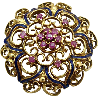 14k Gold Ruby Gemstone Enamel Brooch Pin Pendant for necklace