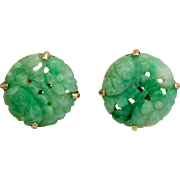 Retro 14K Gold Carved Natural Jadeite Jade Earrings