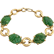 Retro 14K Gold Chinese Carved Natural Jadeite Jade Bracelet