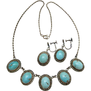 Art Deco German Natural Turquoise Marcasites 935 Sterling Silver Necklace & Earrings Set