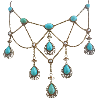 Antique Victorian 14k Gold Natural Persian Turquoise Pearl Festoon Necklace