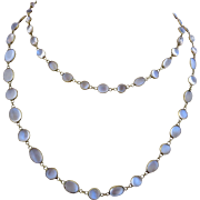 Antique Victorian 14k Gold Moonstone Open Back Bezel Set Necklace