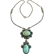 Antique Natural Turquoise Sterling Silver Lavaliere Drop Necklace