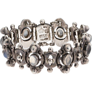 Rare Antonio Pineda 970 Silver Abstract Moonstone Taxco Mexico Bracelet