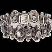 Rare Antonio Pineda 970 Silver Abstract Moonstone Taxco Mexico Bracelet